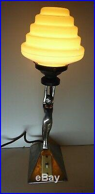 Antique Chrome Diana Naked Lady Art Deco Statue Lamp Beehive Glass Lightshade