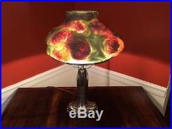 Antique Chrythanthemum Puffy Pairpoint Art Glass reverse painted Lamp, Rare