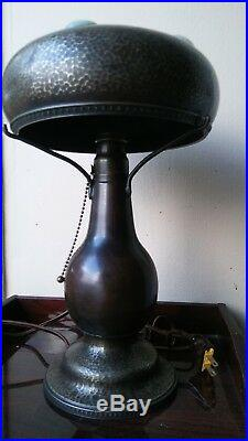 Antique Copper Bronze Brass Arts & Crafts Lamp w Chunk Glass Jewels Hammered
