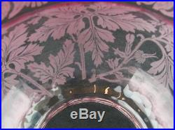 Antique Cranberry Glass Duplex Oil Lamp Shade Etched Art Nouveau Foliate Decor