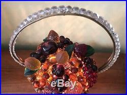 Antique Czech Czechoslovakia Colored Art Glass Figural Fruit Basket Lamp Light