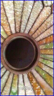 Antique Duffner & Kimberly leaded glass lamp-Handel Tiffany arts crafts slag era