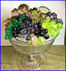 Antique EXCEPTIONAL lg CZECH Glass multi FRUIT & BEADS Lamp Shade Only BOHEMIAN