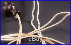 Antique Early 1920's Arts Crafts Slag Glass Leaded Lamp Bradley Hubbard Handel