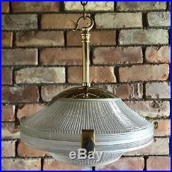Antique Edwardian Art Deco Holophane Lamp Shade Prismatic Pendant Light Vintage