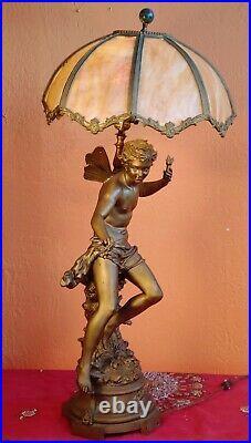 Antique FRENCH ART NOUVEAU Figural PARLOR LAMP Male Farie/ Angel -signed