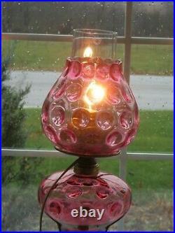 Antique Fenton Cranberry Inverted Thumbprint Lamp Marble Base 21h