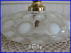 Antique Fenton French Opalescent Coin Dot Pancake Lamp