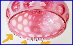 Antique Fenton Ruffled Cranberry Coin Dots Lamp Shade 7 H X 8 1/2w & 7 Fitter