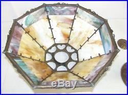 Antique Fine Arts & Crafts Multicolored Slag Glass Lamp Large Handel era Ornate