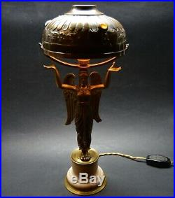 Antique French ART Nouveau 1910's Lamp Angel, Shade with Crystal Stones
