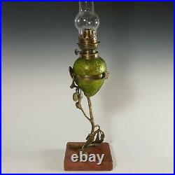 Antique French Acid Etched Glass Oil Lamp Art Nouveau Bronze Marble Stand