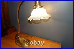 Antique French Art Nouveau Deco BRONZE DESK Table LAMP with Opaline Glass Shade