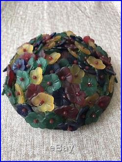 Antique Glass Czech Beaded Flower Topper Bulb Cover Art Deco Basket Lamp Shade