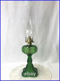 Antique Green Glass Oil Lamp Bullseye Fine Detail Kerosene Victorian Art Deco
