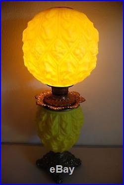 Antique Gwtw Kerosene Oil Canary Yellow Glass Drape Art Nouveau Victorian Lamp