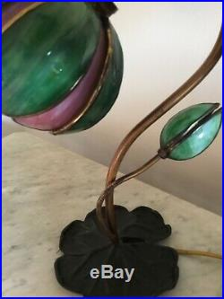 Antique Handel Pond Lily Tulip Signed Art Glass Shade, Table / Desk Lamp