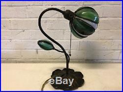 Antique Handel Pond Lily Tulip Signed Art Slag Glass Shade Table / Desk Lamp