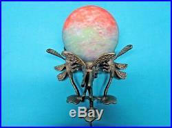 Antique Heavy Brass Art Deco Dragonfly Accent Lamp Light Glass Globe Shade Rare