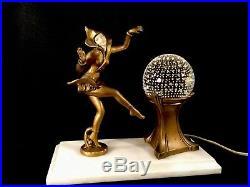 Antique J. B. Hirsch Gerdago Art Deco Pixie Harlequin Dancer Glass Ball Lamp