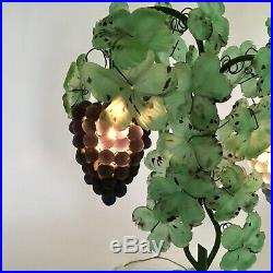 Antique Large Murano Italy Art Glass Grape & Leaf Table Lamp