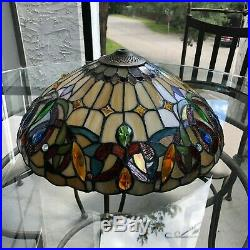 Antique Leaded Stained Slag Art Glass Swag Lamp Shade. Tiffany. Handel