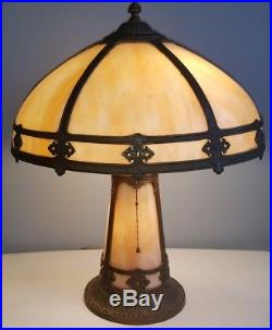 Antique Lighted Base Slag Glass 6 Panel Electric Table Lamp Arts & Crafts Style