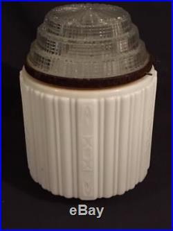Antique Milk Glass & Clear Art Deco Skyscraper Pendant Globes Light Lamp Shade