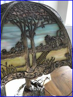 Antique Miller Lamp ML CO 233 6-Panel Slag Glass Lamp Art Nouveau