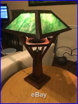 Antique Mission Arts And Crafts Oak Slag Glass Table Lamp