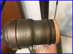 Antique Mission Arts & Crafts Lamp Base For Slag Panel Glass Shade Bryant Socket