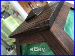 Antique Mission Arts & Crafts Oak Green Slag Glass Lamp 1/2 Of Mfg. Seal