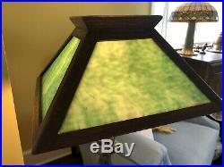 Antique Mission Arts & Crafts Oak Green Slag Glass Shade for Mission Oak Base
