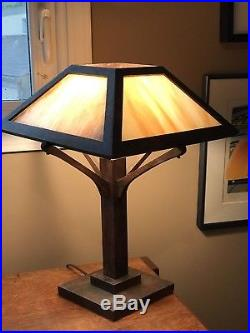 Antique Mission Oak Wood Slag Glass Panel Table Lamp Arts & Crafts Era