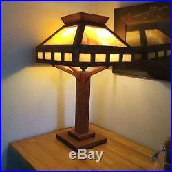 Antique Mission Oak and Slag Glass Lamp Arts & Crafts/Stickley Era