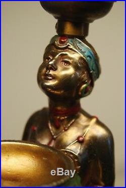 Antique Old Figural Aronson Egyptian Revival 1923 Art Deco Nouveau Erotic Lamp