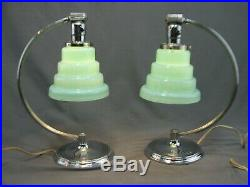 Antique Pair Chase Chrome Art Deco Table Lamps French Vianne Mint Glass Shades