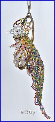 Antique Parrot Bird French Figural Art Deco Czech Glass Beaded Chandelier Lamp