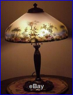 Antique Pittsburgh Arts Amp Crafts Reverse Painted Art Glass Handel Era Lamp Nr