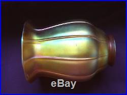 Antique Quezal 5 1/2 Favrile Aurene Gold Iridescent Art Glass Lamp Shade