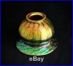 Antique Quezal Floriform Art Nouveau Glass Lamp Shade Kaleidoscope Of Colors