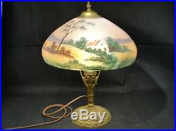 Antique Reverse Painted Lamp Pink Satin Glass Landscape Pittsburgh Art Nouveau