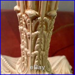 Antique Royal Art Glass Co. Blue Slag Art Nouveau Arts & Crafts Glass Lamp