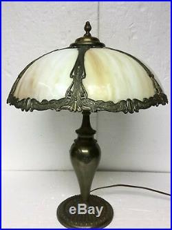 Antique Salem Brothers Slag Glass Stained Glass Panel Lamp Art Nouveau 6 Panels