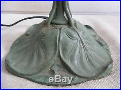 Antique Signed Bradley & Hubbard 471 Lily Pad Arts & Crafts Slag Glass Lamp Base