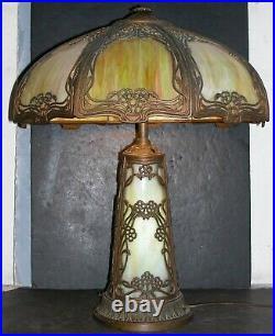 Antique Slag Glass Art Nouveau Lamp / 8 Panel / Lighted Base 24x20 Very Good