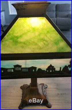 Antique Slag Glass Copper Overlay Landscape Arts Crafts Art Deco Nouveau Lamp