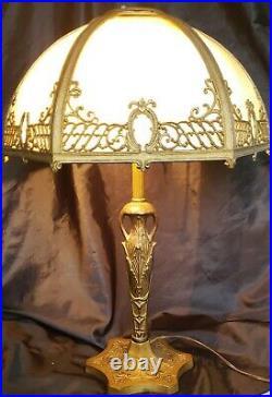 Antique Slag Glass Lamp 6 Panels Art Nouveau 22,5