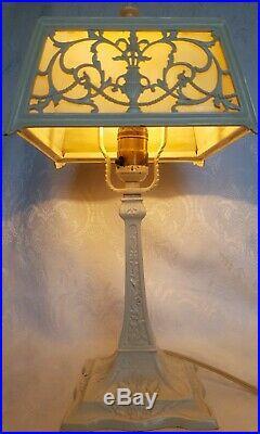 Antique Slag Glass Lamp Ornate Art Nouveau Boudoir Accent Beauty