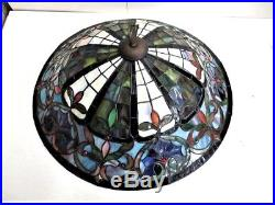 Antique Slag Stained Leaded Hanging Glass Lamp Shade Arts & Crafts Jewels L@@K